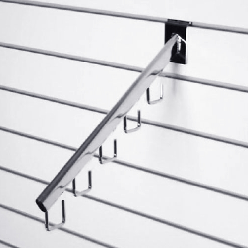 Наклонный кронштейн с 5-ю крючками «к панели» L= 400мм, хром/ черный F112 A для экономпанелей купеть недорого Екатеринбург
